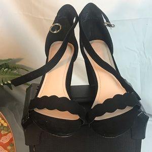 H &M black women suede skinny straps heels